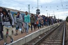 Migrants walk down platform at Hegyeshalom railway station.
