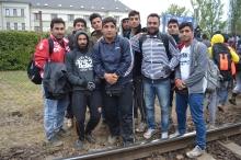 Impromptu group photo at the Hegyeshalom railway station.