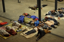 Refugees sleeping in the transit zone.
