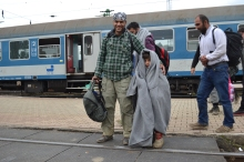 Migrants after arriving to Hegyeshalom railway station.