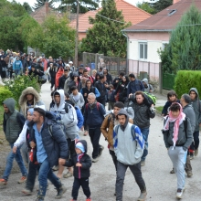 Migrants walk through village of Hegyeshalom.