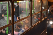 Refugees on bus bound for Austria.