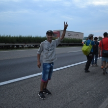 Syrian refugee on his way down the M1 highway toward Austria.