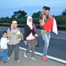 Syrian refugees on their way down the m1 highway toward Austria.
