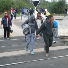 Migrants on their way to the Hungarian-Austrian border.