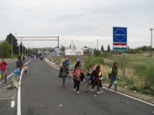 Migrants walking across border into Austria from Hungary.
