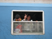 Migrants arrive to Hegyeshalom railway station.