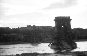 The remnants of the Chain Bridge and Buda Castle following the Siege of Budapest.