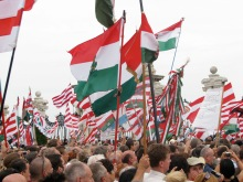 Crowd with Árpád-striped and national flags during first Hungarian Guard initiation ceremony (8/25/2007)