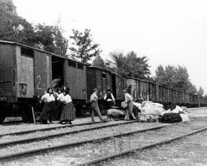 Germans loading their belongings onto a train in Békásmegyer (Krottendorf) on May 3, 1946.