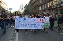 Demonstrators in central Budapest