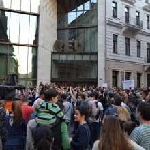 Demonstrators outside main building of Central European University.
