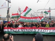 """Peace March slogan: """"The Homeland Before All Else!"""""""