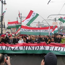 "Peace March slogan: ""The Homeland Before All Else!"""