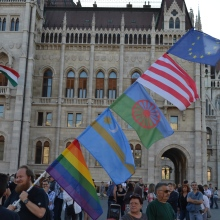 Demonstrator at Hungarian Parliament Building