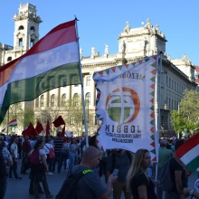 Demonstrator holding flag of nationalist opposition party Jobbik.