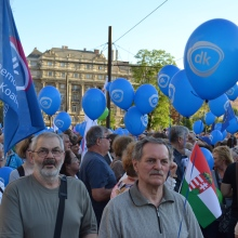 Demonstrators from the Democratic Coalition party.